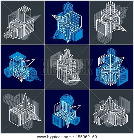 Abstract three-dimensional shapes set vector designs made using cubes and geometric shapes