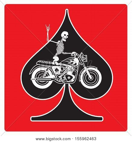 Vector logo or badge featuring a skeleton riding a vintage motorcycle on an ace of spades background. The skeleton is giving the two fingered devils horns heavy metal salute.