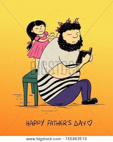 Colorful funny illustration with cute little baby girl daughter doing hairstyle to her dad. Happy Father's day greeting card. Family concept.