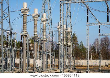 High voltage power transformer in substation tesla.