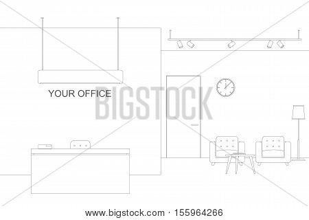 Office line illustration with reception and waiting area. Thin offise interior with furniture.