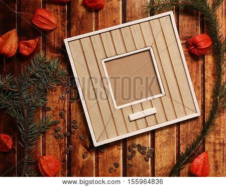 Photo Frame Stick On Vintage Wooden Texture. Christmas And New Year Background Concept. Polaroid Fra