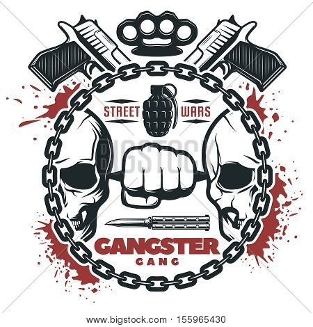 Isolated round composition with blood stains skulls weapons and editable text in a round chain flat vector illustration