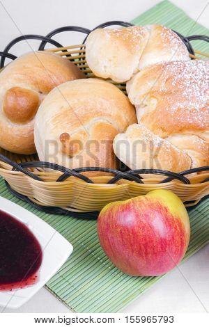 croissant bagels and jam - breakfast ingredients