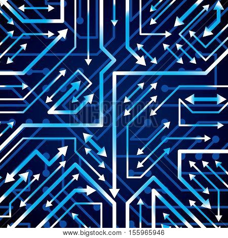Vector electronic pattern with microchip scheme with multidirectional arrows luminescent circuit board high tech futuristic background. Digital connections