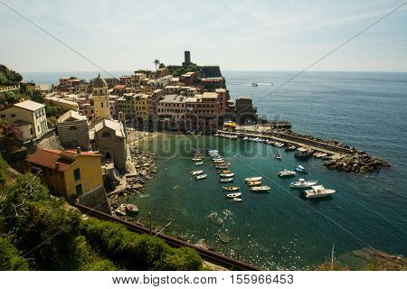 Landscape of the ancient  village of Vernazza. 3 september 2016, Vernazza(Cinque Terre, Italy)