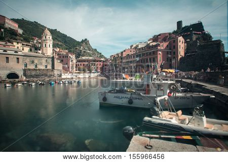 View in the port of the ancient  village of Vernazza. 3 september 2016, Vernazza(Cinque Terre, Italy)