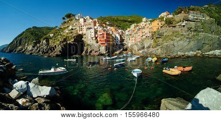 Landscape from the sea to the ancient  village of Riomaggiore. 3 september 2016, Riomaggiore(Cinque Terre, Italy)