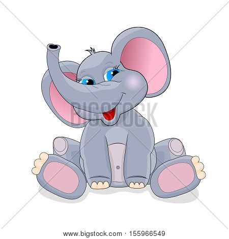 Cartoon elephant on a white background. Greeting card . Cartoon baby elephant .