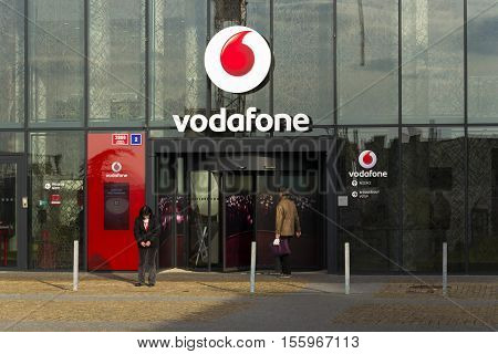 Prague, Czech Republic - November 7: Vodafone Telecommunications Company Logo On Czech Headquarters