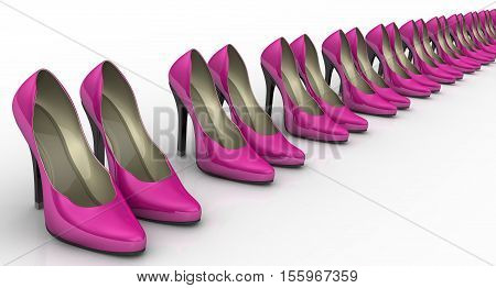Women's high-heeled shoes standing in a row. Pink women's shoes with high heels standing in a row on a white surface. 3D Illustration. Isolated