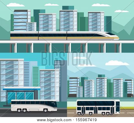 Public transportation orthogonal compositions set with train and buses on urban buildings background isolated vector illustration