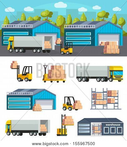 Warehouse logistics concept with goods shipment design and set of storehouse elements and vehicles isolated vector illustration