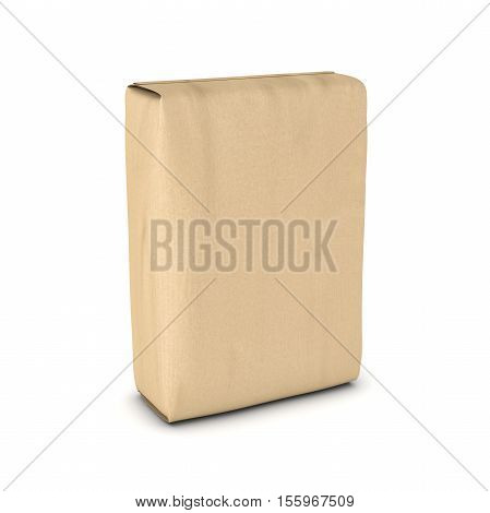 3d rendering of a light beige sack of cement isolated on a white background, three quarters view. Construction and repair. Building and Reconstruction. House-building. Supplies and materials