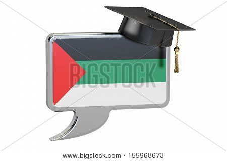 Speech bubble with Arabic flag learning concept. 3D rendering