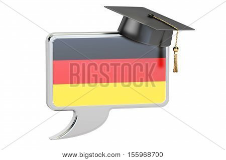 Speech bubble with German flag learning concept. 3D rendering
