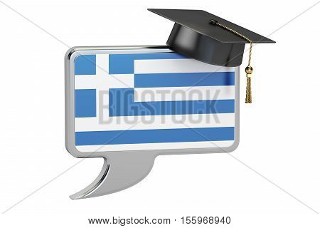 Speech bubble with Greek flag learning concept. 3D rendering