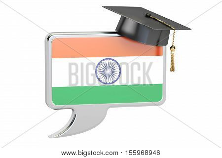 Speech bubble with Indian flag learning concept. 3D rendering