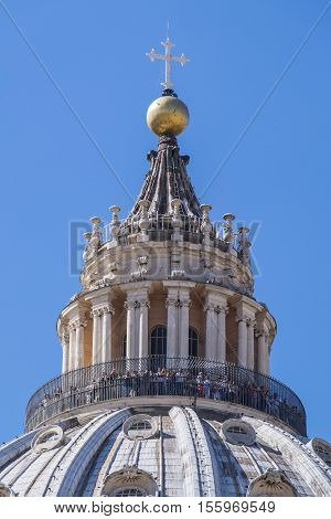 Cupola of St. Peter's Basilica in Rome Against Blue Sky