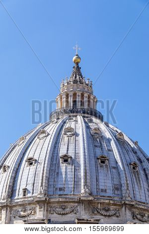 Exterior View of the Cupola of St. Peter's Basilica in Rome Italy
