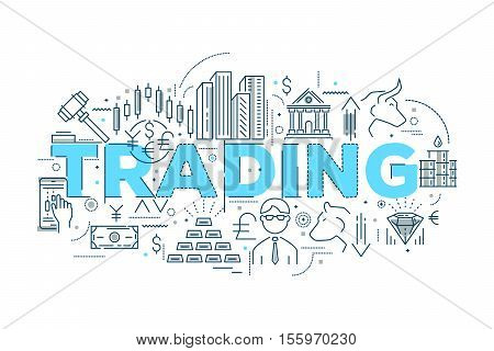 Trading linear design with blue typographic title stocks and gold bears and bulls oil vector illustration