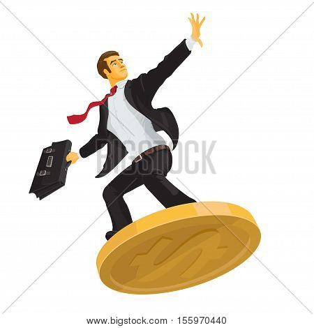 businessman or manager in a white shirt with a briefcase on a coin trendy flat style business concept
