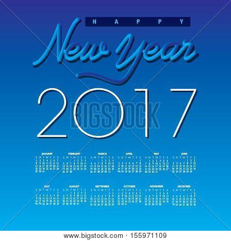 2017 Creative Happy New Year calendar for Print or Web
