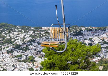 Anacapri Seen from the Chair Lift Up Mount Solaro in Italy