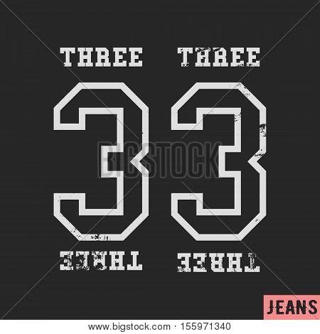 T-shirt print design. 33 vintage stamp. Printing and badge applique label t-shirts, jeans, casual wear. Vector illustration.