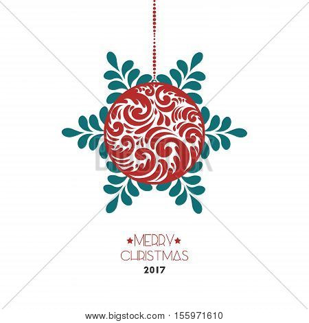 Christmas Holiday Winter Background With Ball Snow And Text