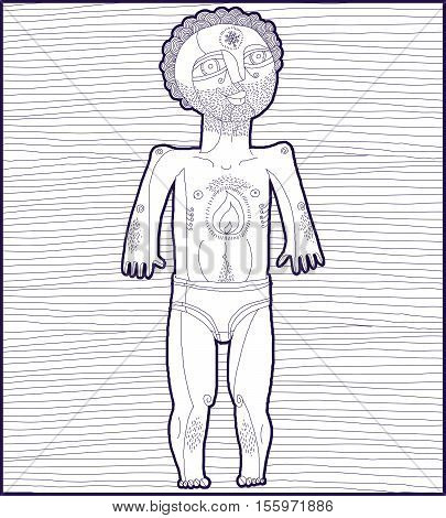 Vector lined illustration of nude man Adam concept.