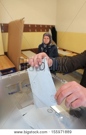 ISTANBUL, TURKEY-MARCH 30: Turks flee to election centers to vote for the Turkish local Elections on March 30, 2014 in Istanbul, Turkey.