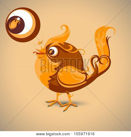 Fiery little bird with shining feathers Vector illustration in flat style isolated from the background