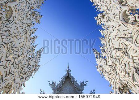 Wat Rong Khun, Chiang Rai, Thailand on sunshine day in summer