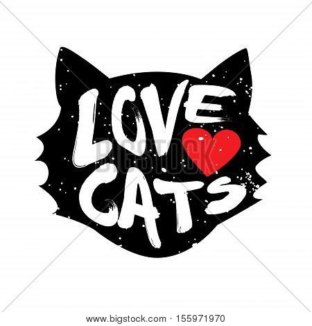 Head of the cat with heart and lettering text Love Cats. Vector