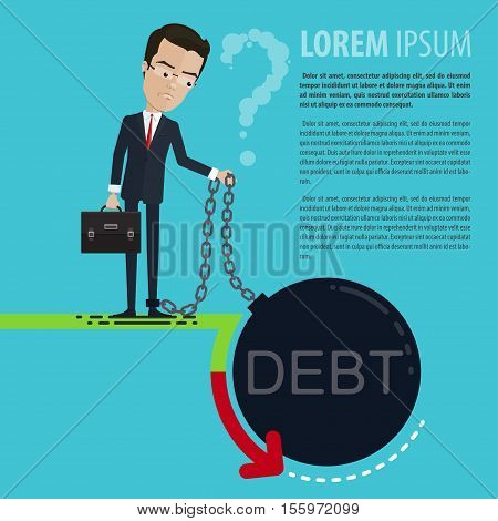 A businessman or manager pensive revenues fell leg chained to a huge debt holding in his hands and a chain bag place for posters Vector illustration in flat cartoon style isolated from the background EPS 10