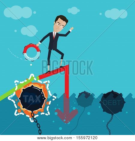 A businessman or manager of drowning in the ocean throwing a lifeline the explosion of underwater mines unpleasant surprise Vector illustration in flat cartoon style isolated from the background EPS 10