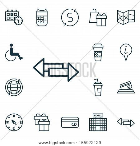 Set Of Airport Icons On Present, Locate And Takeaway Coffee Topics. Editable Vector Illustration. In