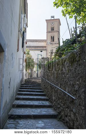Narrow Street and Staircases in Ravello on the Amalfi Coast Italy