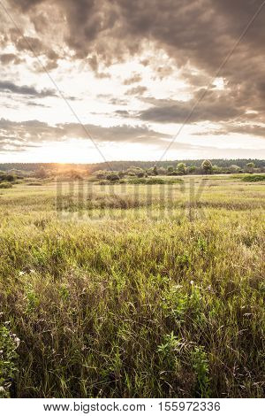 Rural landscape during sunrise at summer meadow with moody sky and sunlight through clouds