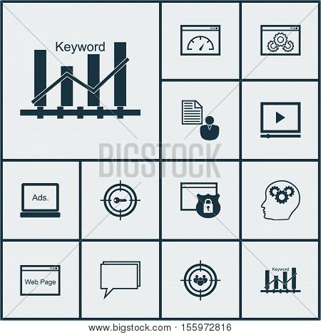 Set Of Marketing Icons On Brain Process, Keyword Marketing And Focus Group Topics. Editable Vector I