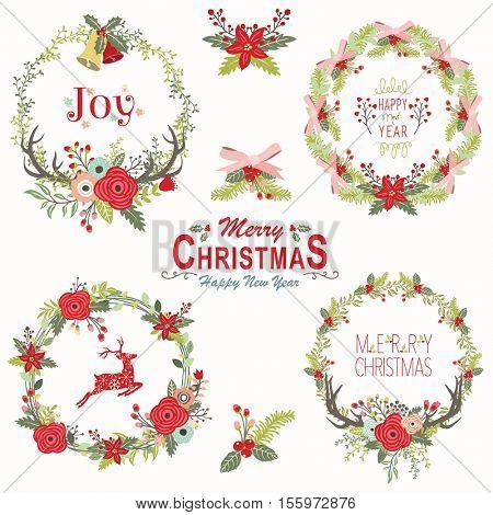 Floral Christmas Wreath Elements