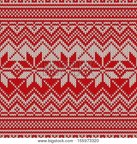 Fair Isle Style Knitted Sweater Design. Seamless Knitting Pattern