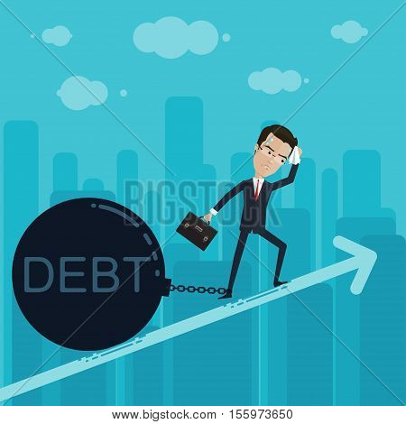 A businessman or manager pulls up a huge debt handkerchief in hand and briefcase Vector illustration in flat cartoon style isolated from the background EPS 10