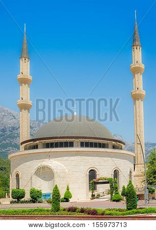 Mosque in Kemer on the backdrop of the mountains Antalya province Turkey