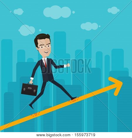 A businessman or manager rises through the ranks Vector illustration in flat cartoon style isolated from the background EPS 10