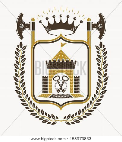 Vector heraldic emblem created with royal crown llustration and with hatchets