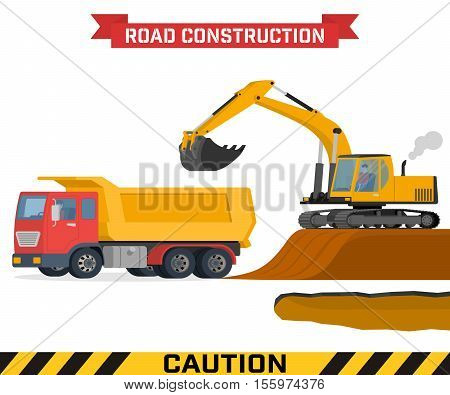 Excavator digging pit in the ground and load truck. Construction machines on white background. Vector illustration of building machinery. poster