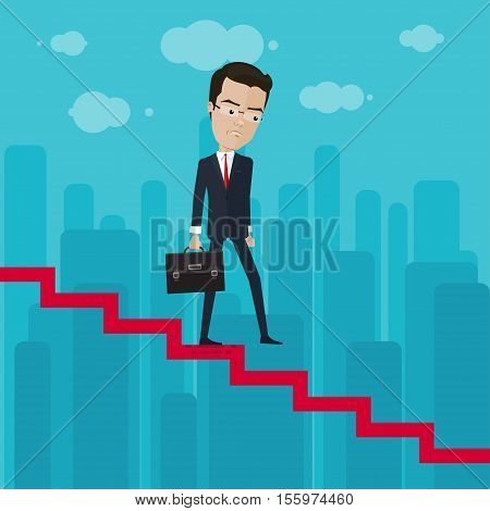 A businessman or manager down through the ranks Vector illustration in flat cartoon style isolated from the background EPS 10