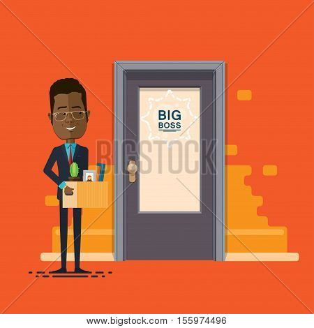 A businessman or manager been promoted moved to a new office promotion Vector illustration in flat cartoon style isolated from the background EPS 10